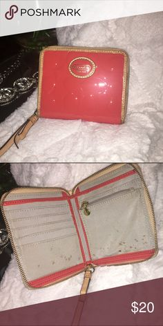 Coach Signature Patent Leather Persimmon wallet Used Coach Bags Wallets