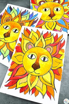 Use our Flow Drawing technique to create Sunshine Lion Art with the kids this Summer. A fun and unique way to explore color and shape, while learning to draw in a free and mindful space.This project can be completed with our Flow Drawing guide and a completed Sunshine Lion to paint. Learn how to draw a lion here! Sunshine Art for Kids | Sunshine Art Painting | Lion Art Drawing | Flow Art for Kids | Art Ideas for Kids | Easy Step by Step Lion Drawing for Kids #LionArt #KidsArt K Crafts, Easy Arts And Crafts, Crafts For Kids To Make, Craft Activities For Kids, Bright Paintings, Unique Paintings, Lion Painting, Painting For Kids, Easy Art Projects
