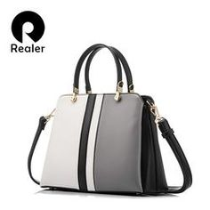 REALER Fashion Women Tote crossbody Handbag Artificial Leather color gray