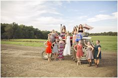 College friends at the country wedding. vintage, barn wedding, country
