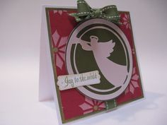 Joy to the world angel card made using the Inspired Heart cartridge.