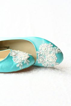 Wedding Flat Shoes Turquoise Blue Satin Bridal by demetoloji, $88.90 Turquoise Wedding Shoes, Low Heels, Wedge Heels, Wedding Flats, Lace Bride, Blue Satin, Beaded Lace, Lace Applique, Happy Shopping