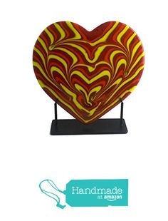 Combed Fused Glass Heart Sculpture in Red, Orange & Yellow from Foster's Beauties http://www.amazon.com/dp/B015TXDYXW/ref=hnd_sw_r_pi_dp_ay-lwb07QVE6W #handmadeatamazon