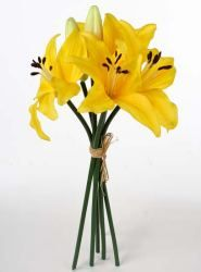 Artificial Silk Sunshine Yellow Asiatic Lily Bundle - Bushes and Bouquets - Floral Supplies - Craft Supplies