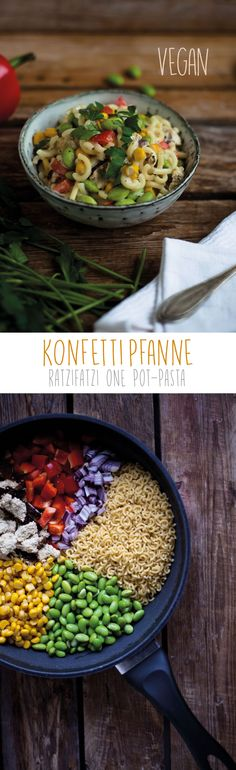 Konfettipfanne. One Pot Pasta Vegan