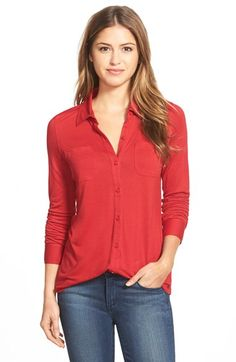 Caslon® Long Sleeve Knit Shirt (Regular & Petite) available at #Nordstrom