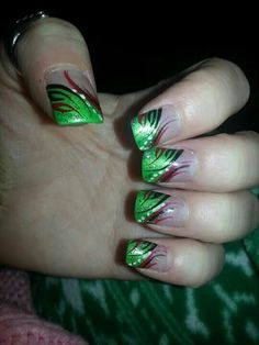 Green red and black Fancy Nails, Green, Beauty, Black, Black People, Cosmetology