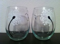 Hand Painted Dandelion Stemless Wine by ManchesterCreations, $20.00