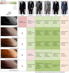Shoe  Suit Color Guide