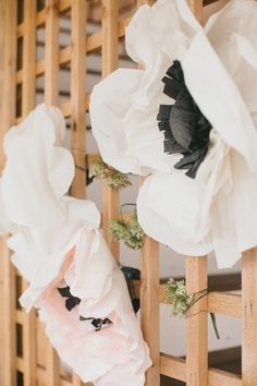 Giant Paper Flowers for Decor | See more of this #Whimsical Wedding on SMP: http://www.stylemepretty.com/2014/01/31/whimsical-connecticut-beach-wedding/ Photography: Catherine Rhodes