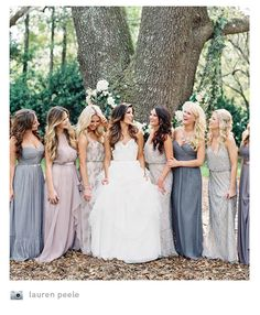 This style not the bluish grey color 3purple lilac blue ombre bridesmaids