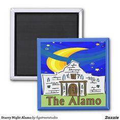 Starry Night Alamo Refrigerator Magnet