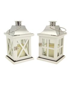 Look what I found on #zulily! White Cross-Beam Lantern - Set of Two by Melrose #zulilyfinds