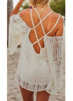 Free shipping New Design Lace Hollow Out Cross Backless Flare Sleeve Dress