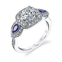 Halo Engagement Ring With Blue Sapphire Accents