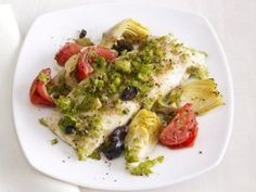 striped bass with artichokes & olives