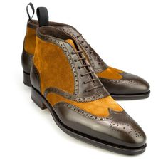 Carmina Grey-Brown Calf and light Tobacco suede brogue Balmoral boots, just under 400 Euro and worth every cent in added style.