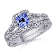 Square Tanzanite and Round Diamond Ring