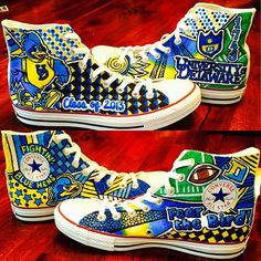 We love these Blue Hen high-top Converse by Lauren Weinstein! See more school spirit shoes at @spiritandsoles on Instagram and Twitter