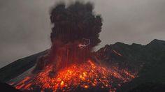 Volcanic Lightning  Sakurajima Erupts in Japan