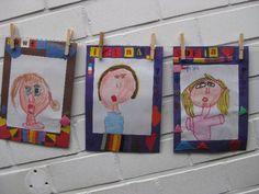 zelfportret met mooi versierde kader Malu, Drawing For Kids, Classroom, Cheese, Drawings, Blogging, Art, Sketch, Portrait