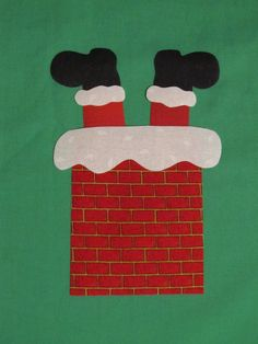 Santa in Chimney Christmas Iron On Applique for Onesies or Kids Tee Shirt. $4.00, via Etsy.