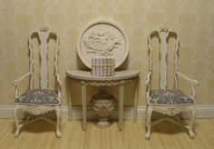 Gustavian Demilune Table in Aged Grey Finish Miniature Dollhouse Furniture Scale 1:12 - French Vellum