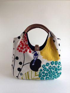 ☆ Blue Lattice · Tsumugi · Silk Silk ☆ Reversible Bag Kimono Remake | Shoulder Bag | Maguya | Handmade mail order · sale Creema