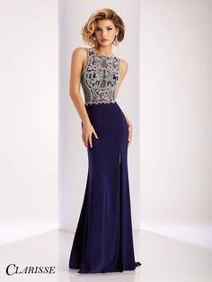 Clarisse Couture 4842 Navy/Silver High Neckline Slit Prom Dress