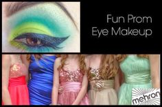 Looking for inspiration for the perfect makeup ideas  for prom?  Whether you want something bold and colorful, glamorous and elegant or simple and stunning.  With the hot makeup looks we have created you are going to turn some heads - and stir up some envy.  This first look takes colorful eye makeup to a whole other level - winged liner and all!  It will add some punch to a classic black prom dress, as well as complement metallics and a whole rainbow of dress choices.