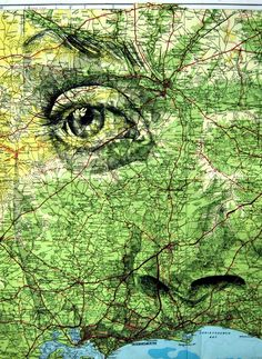 Illustrator Ed Fairburn's Maps series turns road and subway maps into interesting canvases for his ink and pencil portraits.