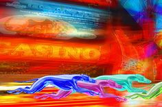 Neon Greyhounds Running the Fremont Street Experience Las Vegas - Cropped for Detailed View - Greyhound Art by Jeffrey Hunter