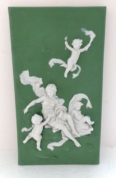 Antique 19th C Jasperware Plaque with Cupid, Cherubs,  Beautiful Woman, and Sea Dolphin at http://www.rubylane.com/item/150922-twt3351/Antique-19th-C-Jasperware-Plaque