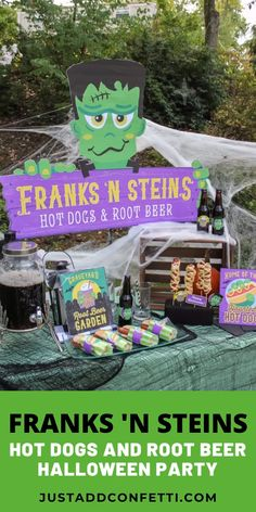 Welcome to Franks 'n Steins...home of the Haunted Hot Dog and a Graveyard Root Beer Garden that's to die for! This Frankenstein Halloween party is so much fun! Full of easy Halloween party ideas, decor, food and printables that you can recreate in no time. Don't miss our famous haunted mummy hot dog too!