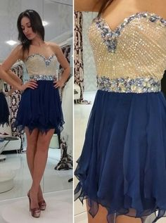 Hot-selling A-line Mini Sleeveless Chiffon Beading Homecoming Dress HCS0014 | BGCP