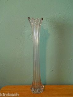"Vintage Fostoria Heirloom Art Glass Stretch Swung VASE Rare Clear ""Opalescent"""