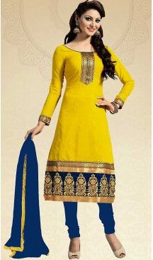 Yellow Color Chanderi Silk Straight Cut Churidar Kameez with Dupatta…