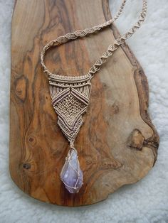 long macrame pendant with ametyhst and purple beads