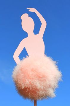 Ballerina table topper centerpiece    Marabou feather pompom topiary trees birthday and baby shower centerpiece decorations