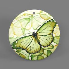 Color Printing Butterfly White Shell Pendant Necklace J1705 0048 #ZL #Pendnat