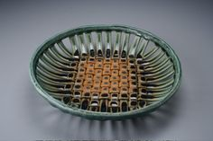Woven ceramic basket