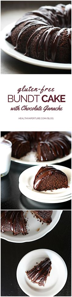 A simple to make gluten-free bundt cake that tastes just as delicious as a traditional bundt cake recipe. Topped with a homemade chocolate ganache, this splurge-worthy dessert is perfect for a special occasion but easy enough for an everyday dessert. Recipe by @ReganJonesRD on HealthyAperture.com.