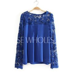 Stylish Round Neck Long Sleeve Hollow Out Lace Emboriey Blouse For Women