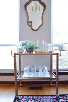 The many different ways to style a bar cart. This post has so many great ideas and pictures that don't involve alcohol.