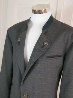 Austrian Vintage Trachten Jacket Men's, Gray Heather Checked Bavarian Jacket, Octoberfest Blazer, Steinbock Alpen Trachten: Size 42 (US, UK) by YouLookAmazing on Etsy