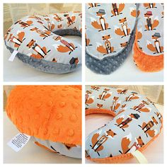 Boppy slipcover with zipper // cotton fabric on top and minky on underside