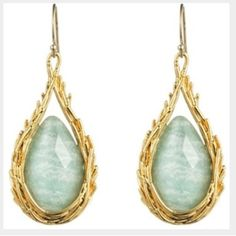 """Alexis Bittar Maldivian Feather Drop Earrings Alexis Bittar Maldivian feather drop earrings. Stone is considered white Quartz/amazonite. They are 1 4/5"""" Long. Never worn but I did take off tags. Alexis Bittar Jewelry Earrings"""