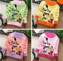Apressado 2014 frete grátis moda manga comprida de algodão o-pescoço dupla minnie dos desenhos animados caráter do bebê roupas das meninas dos meninos blusas(China (Mainland))