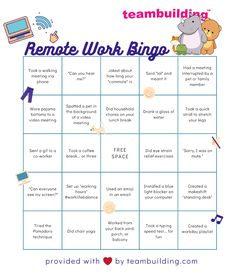 Remote Work Bingo: Free Template + Rules » teambuilding.com Star Citizen, Fun Team Building Activities, Movement Activities, Motor Activities, Building Ideas, Physical Activities, Meeting Games, Bingo Card Template, Staff Morale