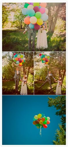 Globos de colores para las fotos de los novios : LaNoviaNovata.com